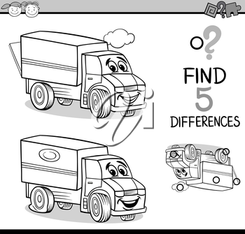 Black and White Cartoon Illustration of Finding Differences Educational Task for Preschool Children with Truck Transport Character for Coloring Book