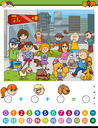 Cartoon Illustration of Educational Mathematical Counting and Addition Activity Task for Children with Kids and Dogs in the City