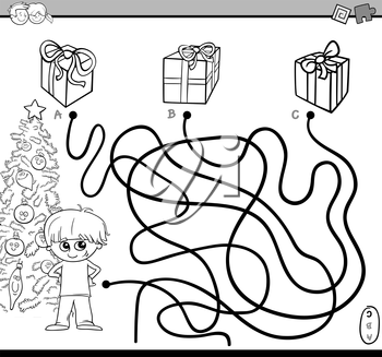 Black and White Cartoon Illustration of Educational Paths or Maze Puzzle Activity with Kid Boy and Christmas Presents Coloring Book