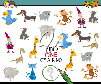 Cartoon Illustration of Educational Activity of Finding One of a Kind for Kids