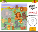 Cartoon Illustration of Educational Counting Activity Game for Children with Cute Animal Characters