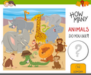 Cartoon Illustration of Educational Counting Activity Game for Kids with Cute Animal Characters