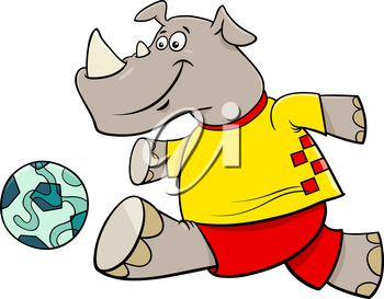 Cartoon Illustrations of Rhino Football or Soccer Player Character with Ball