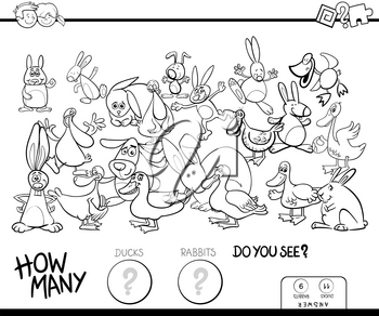 Black and White Cartoon Illustration of Educational Counting Game for Children with Ducks and Rabbits Farm Animals Characters Group Coloring Book