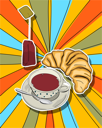 Royalty Free Clipart Image of a Pop-Art Food Design