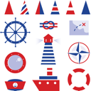 Royalty Free Clipart Image of Nautical Icons