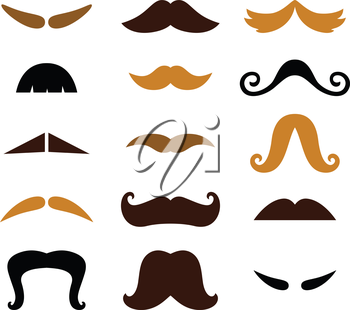 Retro Mustaches Hipster set. Vector Illustration