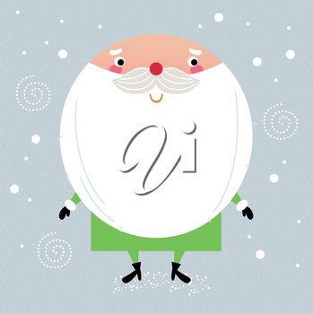 Royalty Free Clipart Image of Santa in a Green Suit