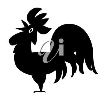 Royalty Free Clipart Image of a Rooster Silhouette