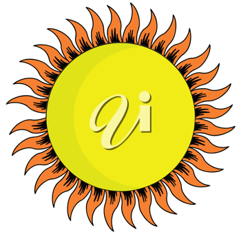 Royalty Free Clipart Image of a Yellow Sun