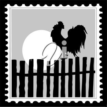 Royalty Free Clipart Image of a Rooster Postage Stamp