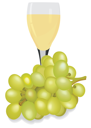 Royalty Free Clipart Image of a Glass of Wine and Grapes