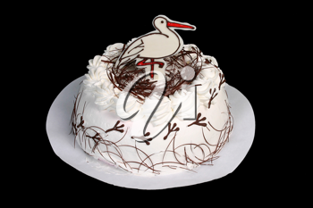 Royalty Free Photo of a White Cake With a Stork