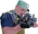 Royalty Free Clipart Image of a Soldier Holding a Machine Gun