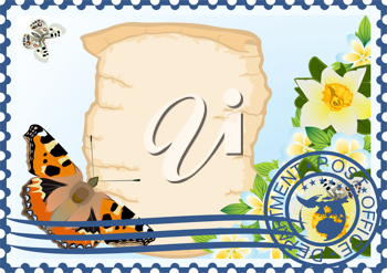 The illustration on a postage stamp. Butterfly and flowers on a background of ancient parchment.