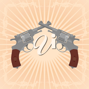 Two revolvers on an abstract background. Illustration on the background of diverging rays.