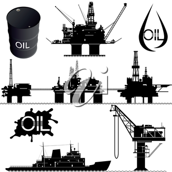 Set of icons of the oil industry. The illustration on white background.