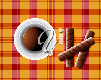 Royalty Free Clipart Image of a Cup of Coffee with Cookies