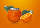 Royalty Free Photo of a Can of Orange Drink Covered with an Orange Peel, and a half of an orange with Green Leaves