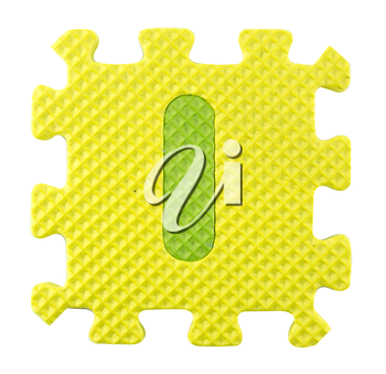 I letter, Alphabet puzzle isloated on white background , with clipping path.