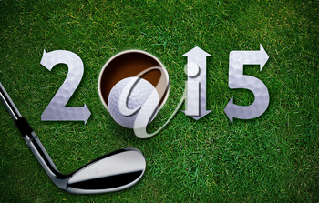 Happy New Golf year 2015,  Golf ball and putter on green grass, the same concept available for 2016 and 2017 year.