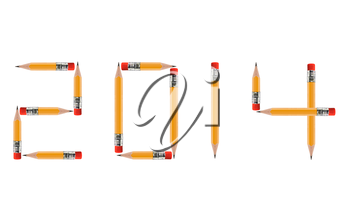 Happy new year 2014, short Pencils isolated on white background arranged to spell 2014. the same concept available for 2015, 2016 and 2017 year, (Clipping work path included).