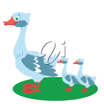 Royalty Free Clipart Image of a Mother Goose and Two Babies