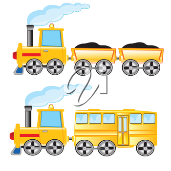 Two locomotives cargo and passenger on white background