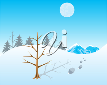 The Winter landscape with snow and tree.Vector illustration