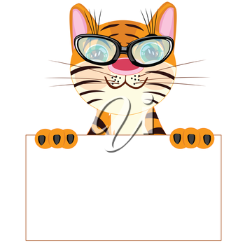 Tiger with poster on white background insulated