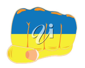 The Human fist painted state in flag ukraine.Vector illustration