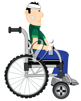 Vector illustration of the person in wheelchairs with rebandaged by head