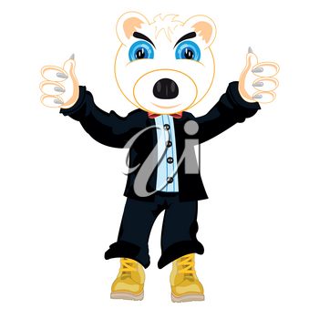 Vector illustration of the cartoon animal polar bear in fashionable suit