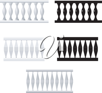 Royalty Free Clipart Image of a Variety of Baluster Silhouettes