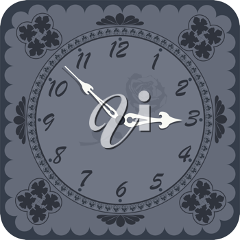 Royalty Free Clipart Image of a Vintage Clock With Silhouette Designs