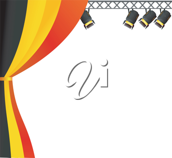 Royalty Free Clipart Image of a Stage With Belgium Colours and Overhead Lighting