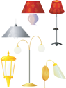 Royalty Free Clipart Image of a Variety of Lamps and Lamp Shades on a White Background