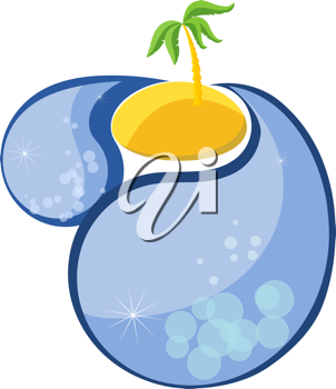 Royalty Free Clipart Image of a Palm Tree in the Center of an Island