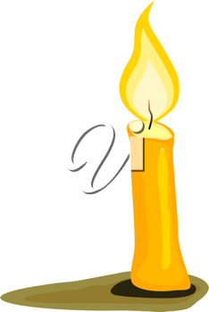 Royalty Free Clipart Image of a Bright Yellow Burning Candle