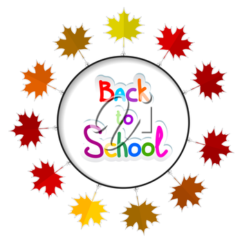 Round frame with autumn leaves. Back to school.. Vector illustration.