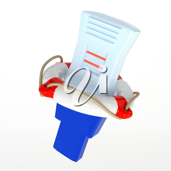 Icon color pregnancy test with a positive result, and life buoy isolated on white background. The concept of conservation of pregnancy. 3d illustration.