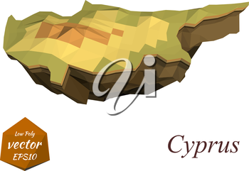 Island Cyprus in the low poly style. Vector illustration