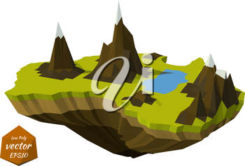 Abstract island with mountains in the low poly style. Vector illustration