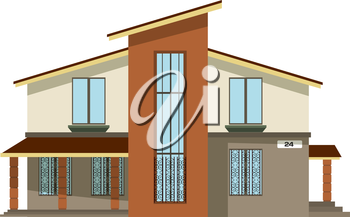 Flat style. Cartoon building. Modern two-storey private house with a sloping roof on a white  background. Isolate. Icon Building. Element for the site estate agency. Symbol of wealth and  success.