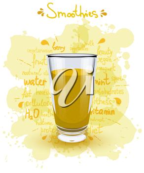 Vector illustration high glass cup with a yellow smoothies. Healthy nutrition - smoothies. 
