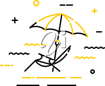 Flat color icon of a beach umbrella with a sun lounger on a white background. Symbol 
