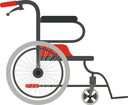 Wheelchair on a white background. Flat style wheelchair. The subject of medical equipment is assistance to people with disabilities. Vector illustration