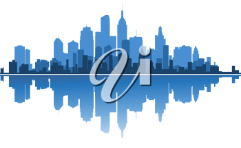 Royalty Free Clipart Image of a Cityscape with a Water Reflection
