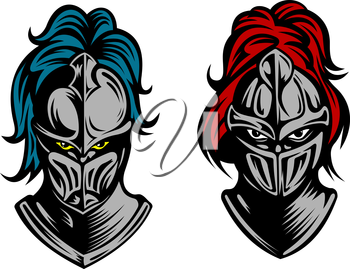 Heads of two fierce men in medieval armour with their eyes glinting behind metal visors and plumes of feathers on the helmets, vector illustration on white