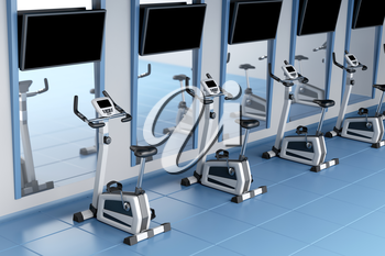 Exercise bikes in a gym